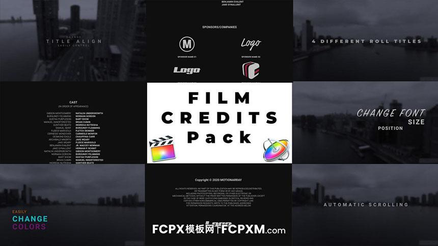 FCPX模板 电影结束屏鸣谢滚动演职员表fcpx模板下载-FCPX模板网