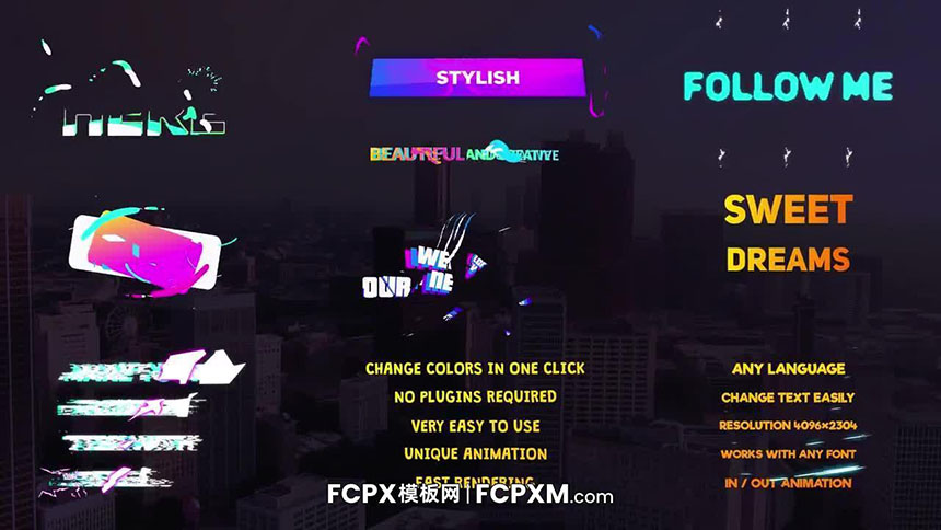 FCPX模板 10个创意渐变动态标题fcpx模板下载-FCPX模板网
