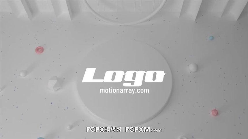 FCPX开场片头模板 白色立体几何图形logo展示fcpx模板下载-FCPX模板网