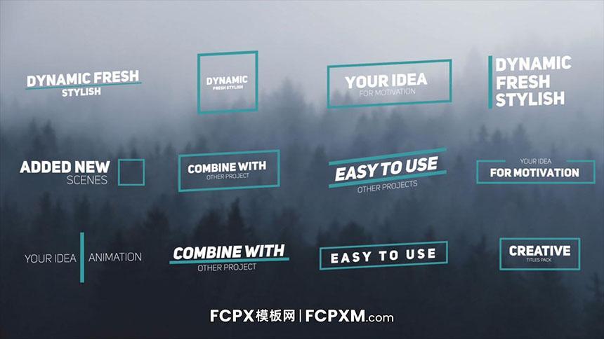 FCPX动态标题模板 创意图形线条动态全屏标题fcpx模板下载-FCPX模板网