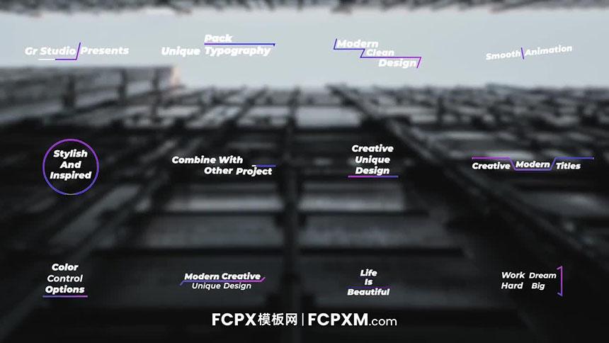 FCPX标题模板 时尚渐变动态图形标题动画fcpx模板下载-FCPX模板网