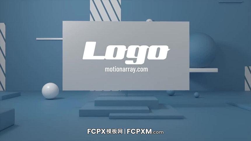 片头片尾FCPX模板 3D场景旋转支架动态logo展示fcpx模板下载-FCPX模板网
