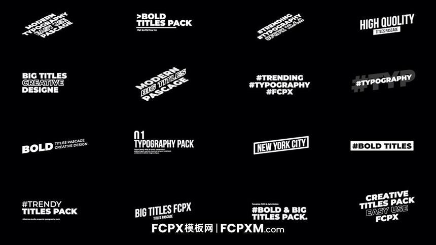FCPX标题模板 16个极简动态全屏大标题短视频fcpx模板下载-FCPX模板网