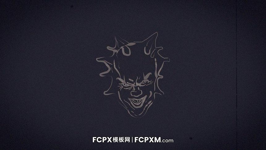 FCPX模板 小丑头像恐怖效果动态logo展示fcpx模板下载-FCPX模板网
