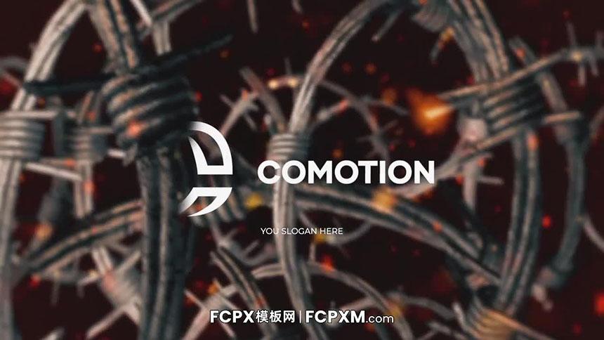 FCPX模板 动态铁丝网缠绕效果logo展示开场视频fcpx模板下载-FCPX模板网
