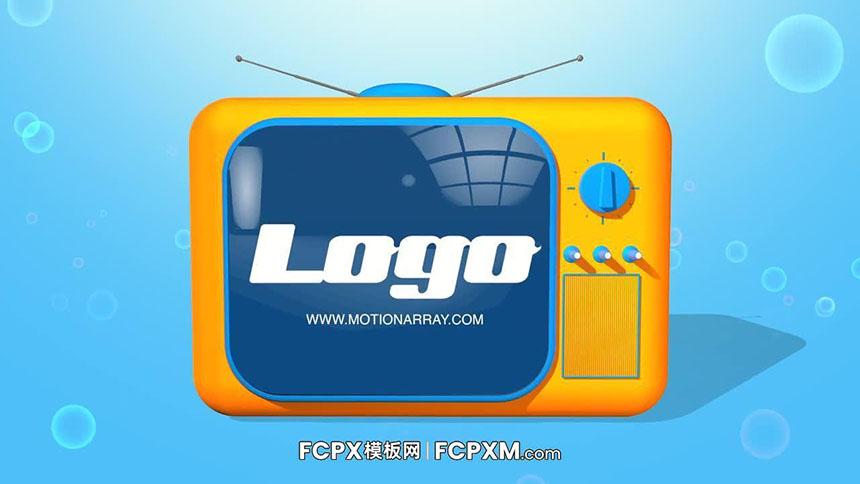 FCPX模板 创意卡通电视机logo展示动画fcpx模板下载-FCPX模板网