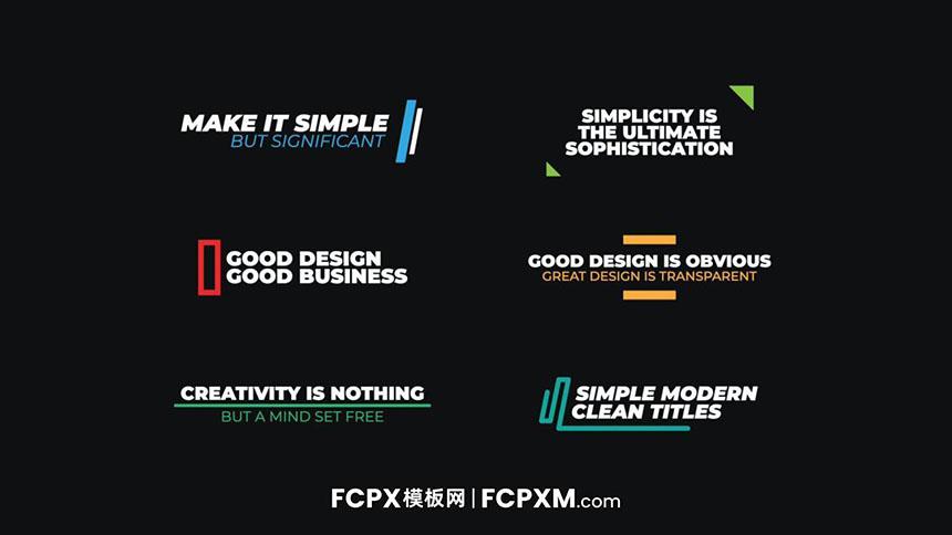 FCPX标题模板 简约多彩线条图形文字动画fcpx模板下载-FCPX模板网