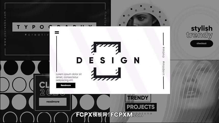 FCPX模板 时尚黑白单色全屏排版场景fcpx模板下载-FCPX模板网