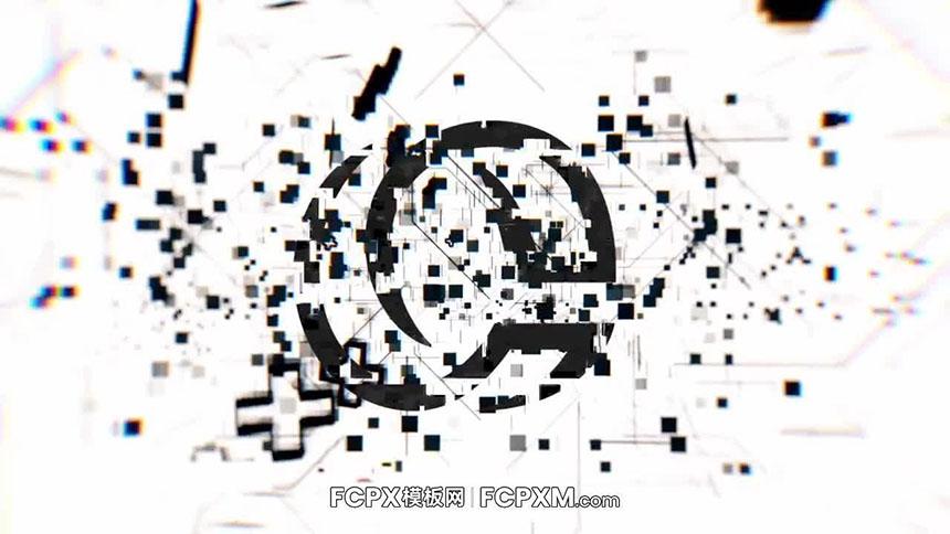 开场视频FCPX模板 黑白故障毛刺效果动态logo展示fcpx开场片头模板-FCPX模板网