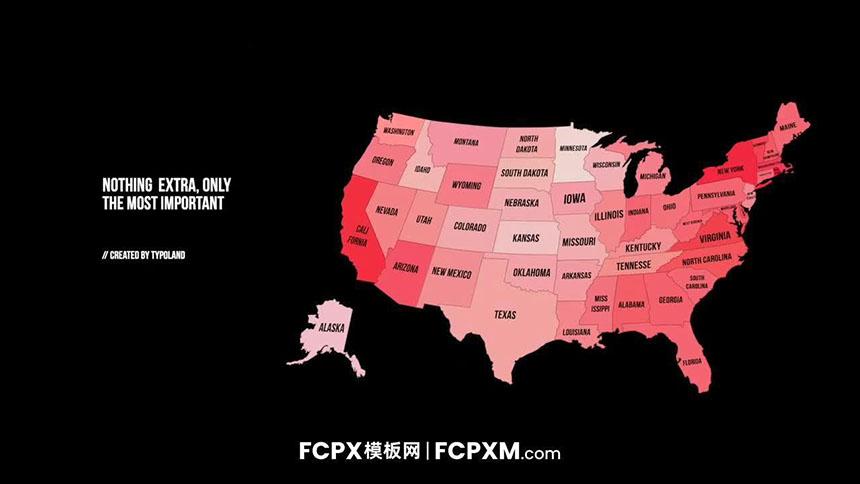 实用FCPX地图模板 美国地图信息图表fcpx短视频模板-FCPX模板网