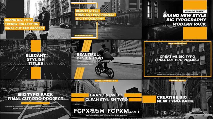 FCPX模板 9个现代时尚全屏文字动画排版fcpx模板下载-FCPX模板网