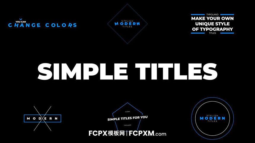 免费FCPX标题模板 实用简单蓝色线条几何动态标题fcpx模板下载-FCPX模板网