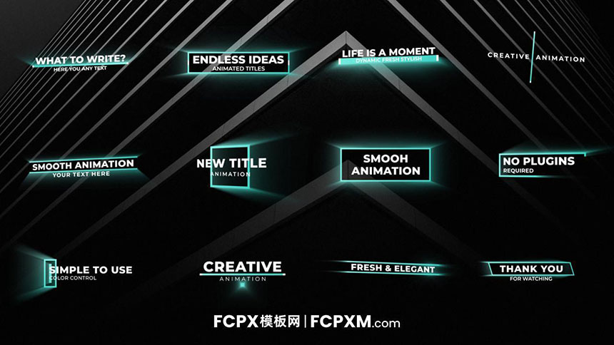 fcpx标题字幕模板 创意发光扫光文字标题fcpx字幕模板下载-FCPX模板网