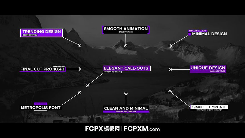 fcpx字幕模板 紫色动态线条呼出介绍备注标题fcpx模板下载-FCPX模板网