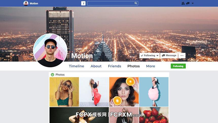 FCPX模板 Facebook社交账号媒体作品短视频模板-FCPX模板网