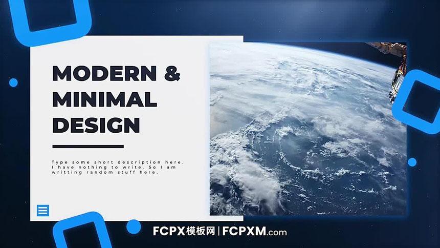 FCPX幻灯片模板 静谧蓝色大气几何图形元素图文展示FCPX模板-FCPX模板网