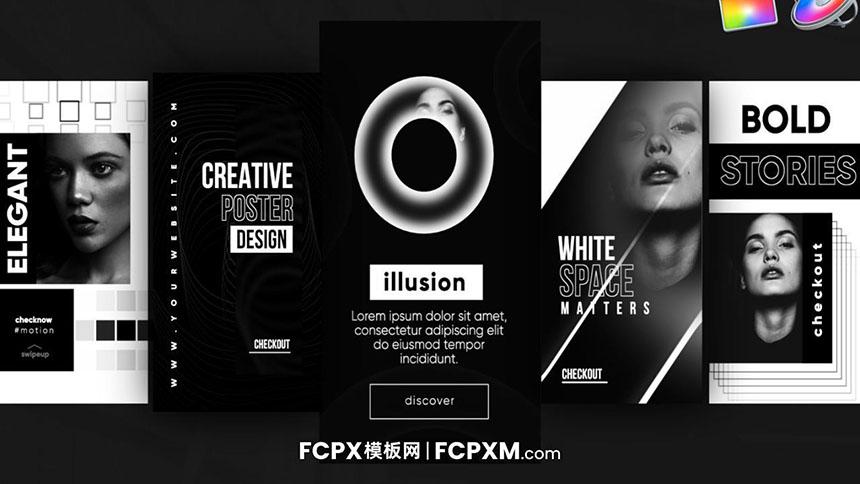 FCPX模板 INS时尚黑白效果短视频模板下载-FCPX模板网