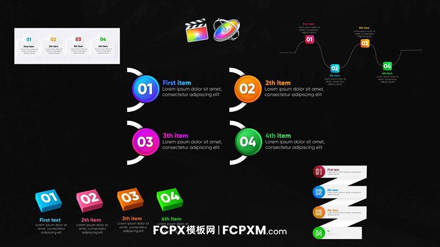 FCPX模板 动态3D数据统计信息图列表视频模板下载-FCPX模板网