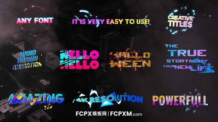 FCPX模板 超级炫酷流体动态特效文字动画fcp标题模板-FCPX模板网