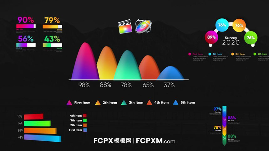 FCPX模板 彩色动态数据统计信息图表fcpx模板下载-FCPX模板网