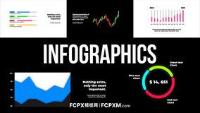 FCP模板 条状圆环折线图数据统计信息图表fcpx模板下载