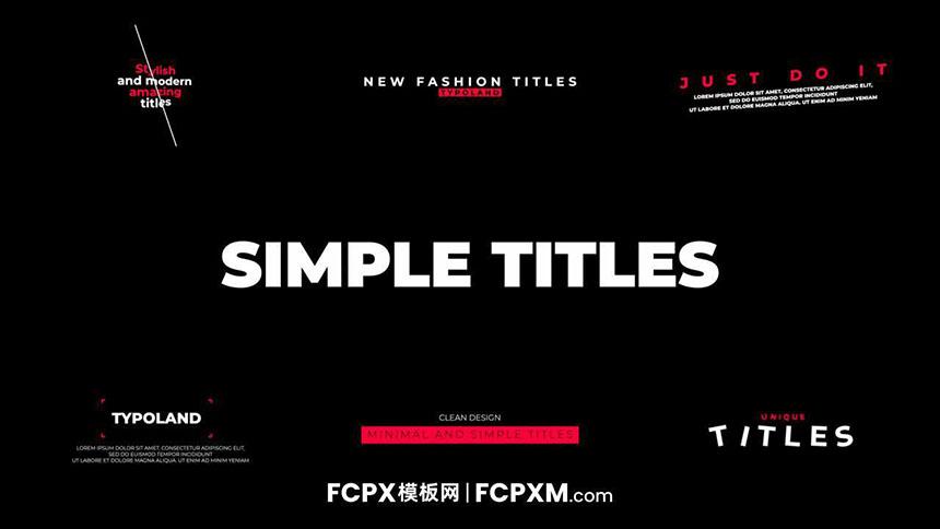 6个新潮简约动态标题fcpx模板免费下载-FCPX模板网
