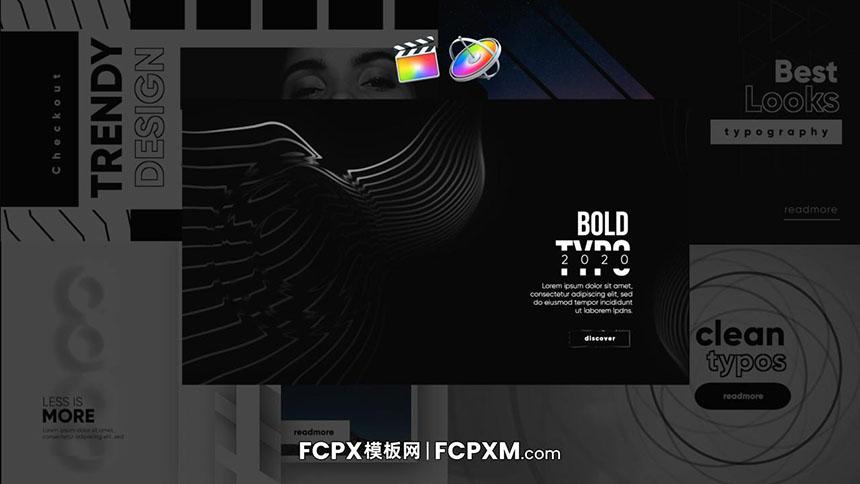 FCPX模板 简约黑白动态排版背景社交媒体短视频必备-FCPX模板网