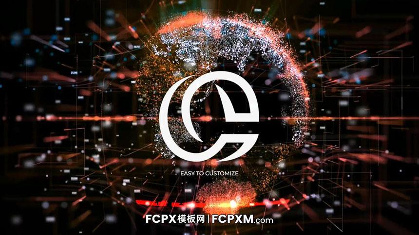 数字信息科技感动态地球图形logo展示FCP模板下载-FCPX模板网
