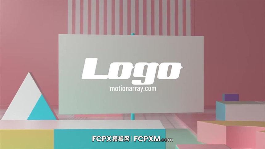 温馨儿童节目立体几何动画logo展示FCPX模板下载-FCPX模板网