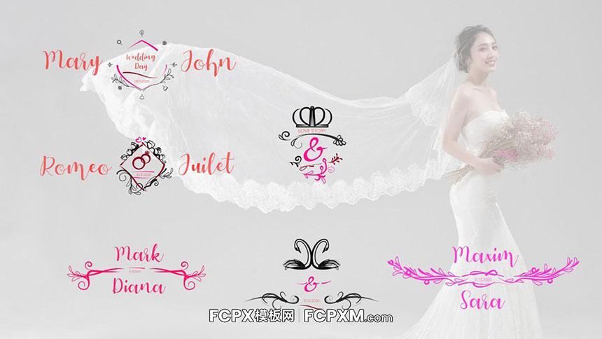 FCPX模板 创意喜庆浪漫动态婚礼全屏标题合集模板下载-FCPX模板网