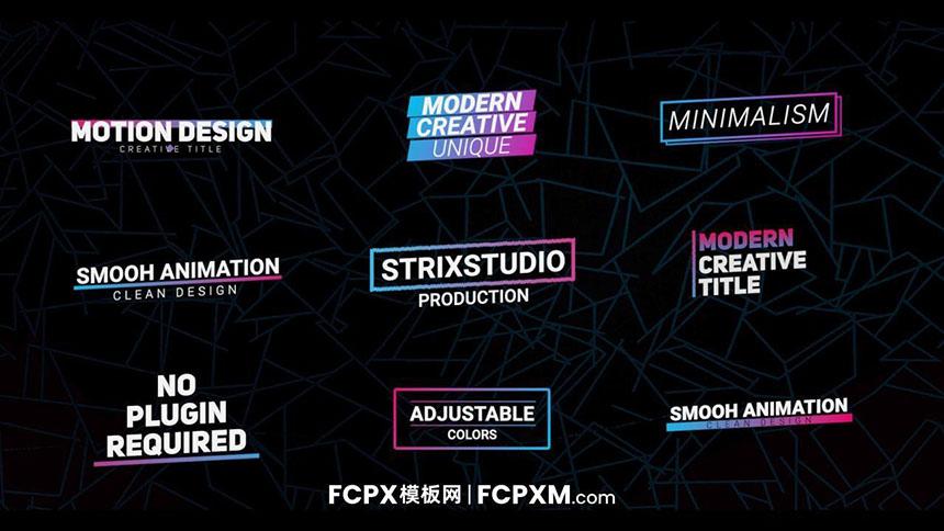 FCPX模板 现代炫酷渐变图形动态全屏标题模板下载-FCPX模板网