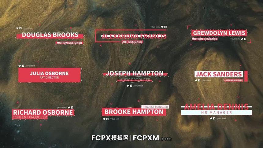 动态字幕条宣传片开场白人物介绍字幕FCPX模板下载-FCPX模板网