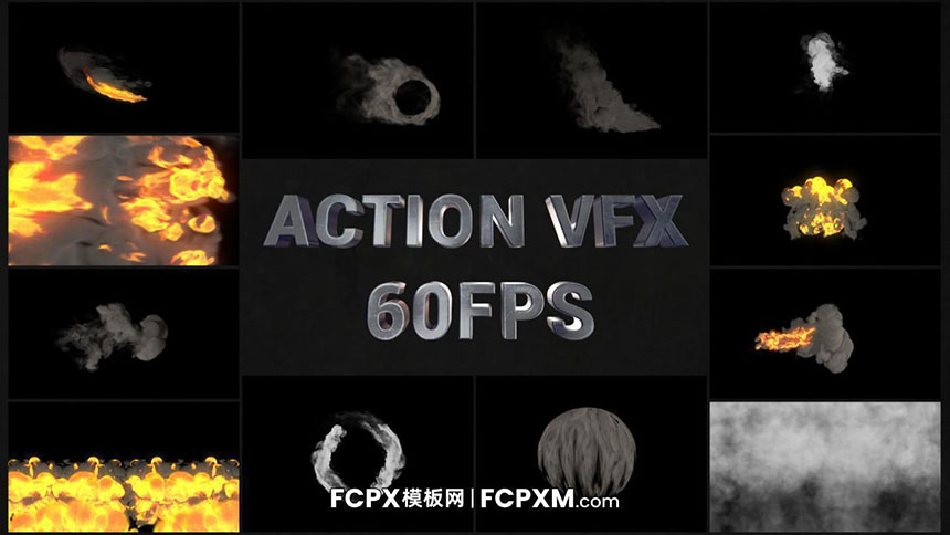 FCPX火焰烟雾特效动作电影VFX特效素材包-FCPX模板网