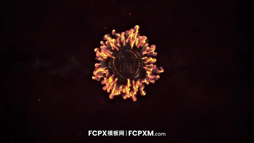 FCPX模板 彩色火焰对撞爆炸logo展示动画FCPX片头模板下载-FCPX模板网