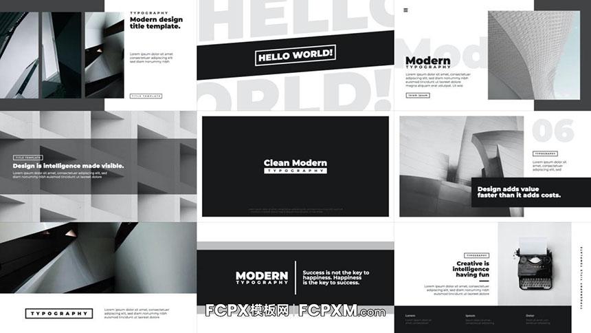 FCPX模板 高级黑白灰色调动态文字排版设计动画DR模板-FCPX模板网