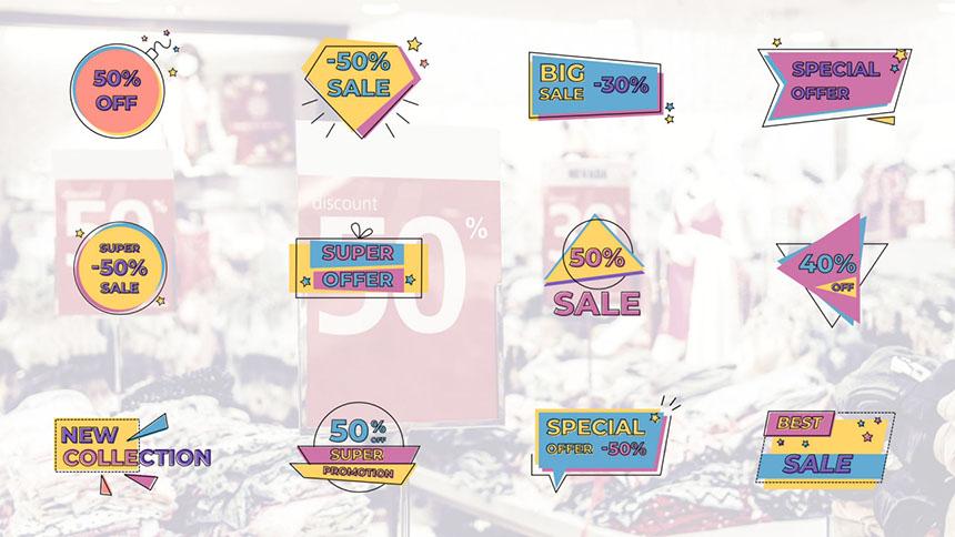FCPX标题模板 12个卡通创意销售促销动态标题模板下载-FCPX模板网